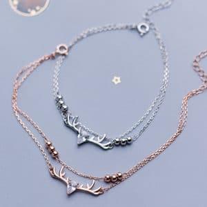 Bracelet tête de cerf en or rose et argent