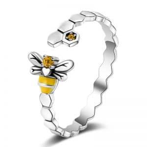 Bague abeille en argent avec pierres jaune