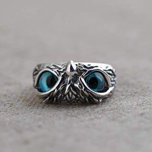 Bague hibou yeux bleus pour femme