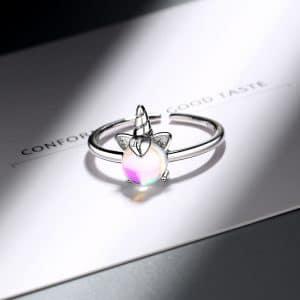 Bague licorne avec opale
