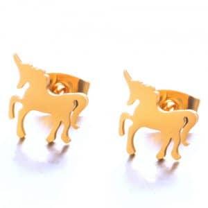 Boucles d'oreille licorne dorées