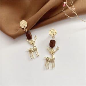 Boucles d'oreilles cerf en bois et métal 2
