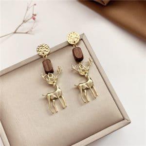 Boucles d'oreilles cerf en bois et métal
