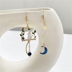 Boucles d'oreilles fantaisie chat avec étoile et lune