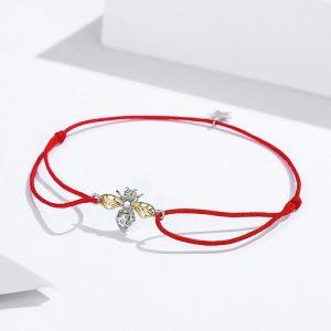Bracelet abeille avec corde rouge en argent
