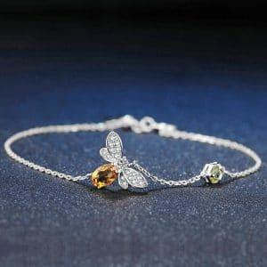 Bracelet abeille en argent et chaine plaquée or blanc 2