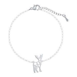 Bracelet cerf en acier inoxydable or, or rose et argent
