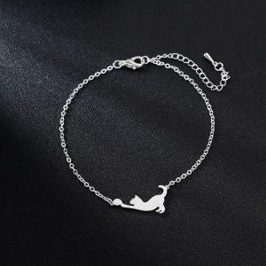 Bracelet chat en acier inoxydable couleur argent