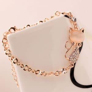 Bracelet chat en alliage de zinc rose 3
