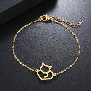 Bracelet chat en plaqué or