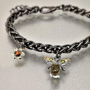 Bracelet fantaisie abeille plaqué métal avec opale 2