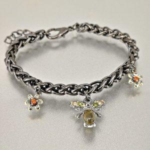 Bracelet fantaisie abeille plaqué métal avec opale