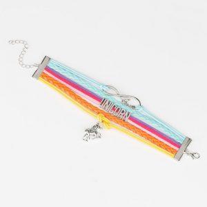 Bracelet licorne en cuir coloré pour femme