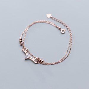 Bracelet tête de cerf en or rose
