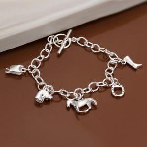 Bracelets cheval en argent pour femme avec breloques 2