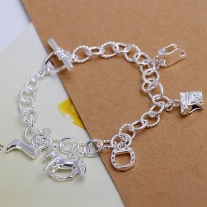 Bracelets cheval en argent pour femme avec breloques