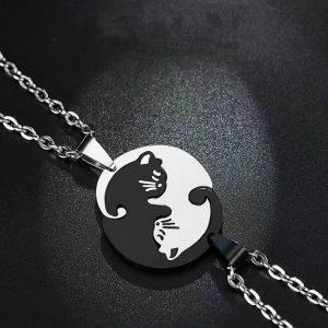 Collier pendentif chat Yin Yang